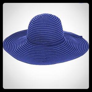 Sun & Sand, oversized hat blue w/ white stitching